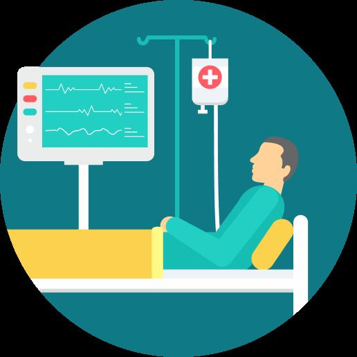 An illustration of a bedridden patient